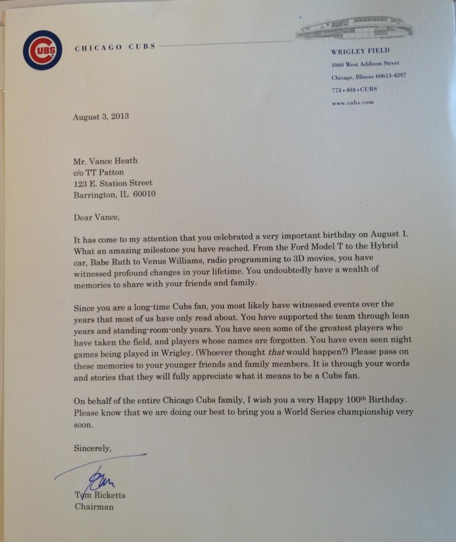 Cubs Letter