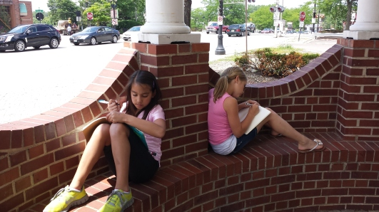 Short Stories, 6th and 7th graders learning to incorporate sensory details while writing outside