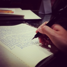 Hand with blurred journal