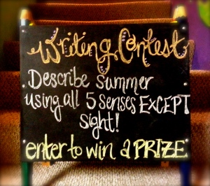 Come enter our kids' writing contest on the sidewalk of 123 E. Station Street!