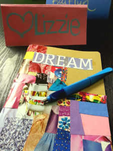 Lizzie let her creative flag fly when collaging her personal moleskine!